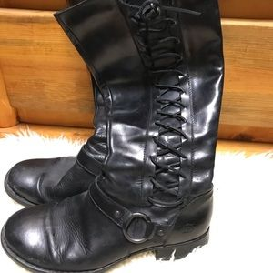 Born tall leather boots with lacing
